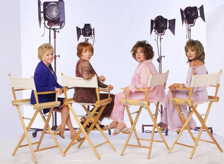 "Debbie Reynolds, Shirley MacLaine, Elizabeth Taylor and Joan Collins pose for a ""These Old Broads"" promotional photo."