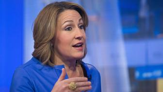 Heather Bresch, chief executive officer of Mylan NV, speaks during a Bloomberg Television interview in New York, U.S., on Thursday, Feb. 11, 2016. After agreeing to buy Meda AB for about $7.2 billion in cash and stock, Mylan may still pursue other deals in the future, Bresch said. Photographer: Michael Nagle/Bloomberg via Getty Images