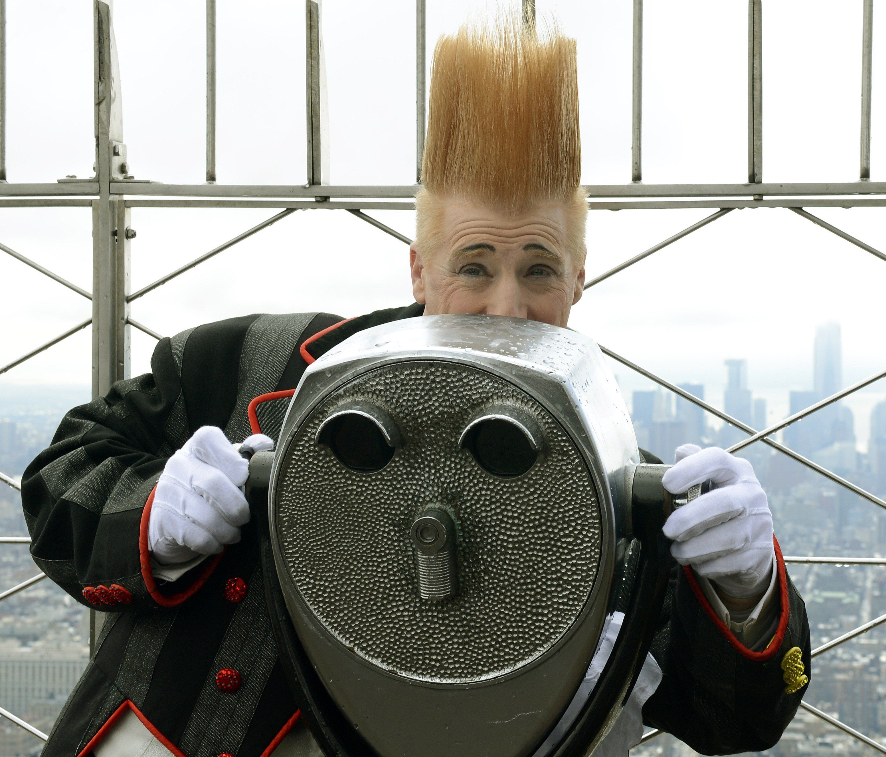 Bello Nock, the former star of both Big Apple Circus and Ringling Brothers at the Empire State Building's world-famous 86th floor Observatory March 19, 2013.  Bello Nock  is here to celebrate the New York City debut of his first-ever independently produced show, Bello Mania, which runs at the New Victory Theater through March 31.  AFP PHOTO / TIMOTHY A. CLARY        (Photo credit should read TIMOTHY A. CLARY/AFP/Getty Images)