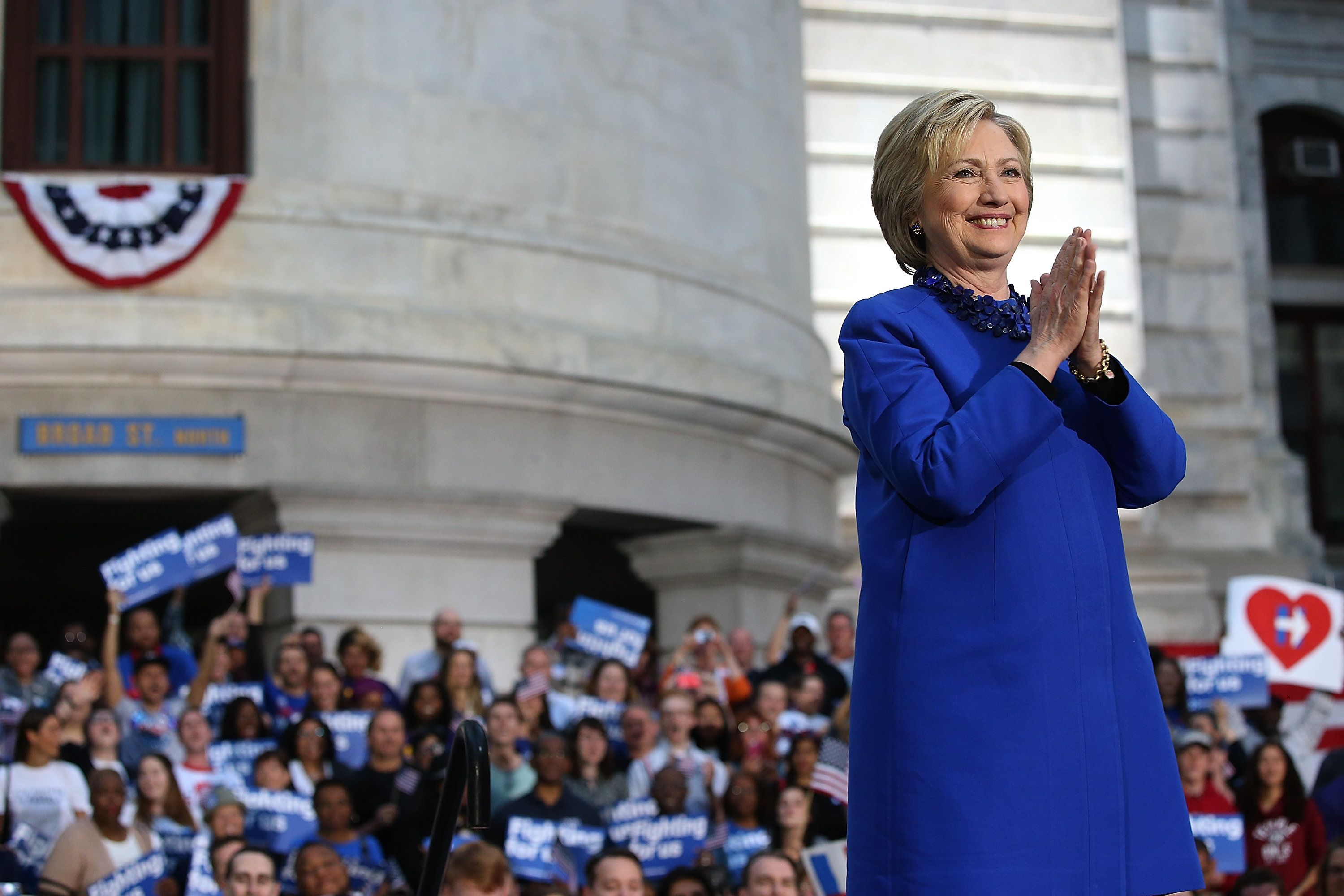 PHILADELPHIA, PA - APRIL 25:  Democratic presidential candidate former Secretary of State Hillary Clinton greets supporters during a Get Out the Vote rally at Philadelphia City Hall on April 25, 2016 in Philadelphia, Pennsylvania. Hillary Clinton is campaigning in Deleware and Pennsylvania ahead of Tuesday's presidential primaries.  (Photo by Justin Sullivan/Getty Images)