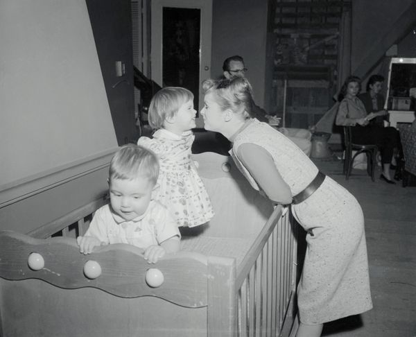 "Debbie Reynolds finds time to play with Carrie on the set of ""Say One for Me."""