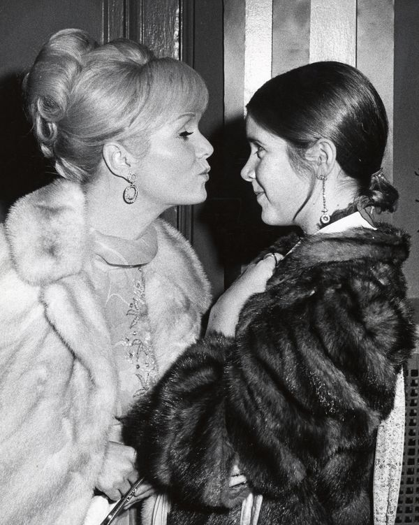 Debbie Reynolds and Carrie Fisher in New York City at the School Benefit at Town Hall, Nov. 6, 1972.