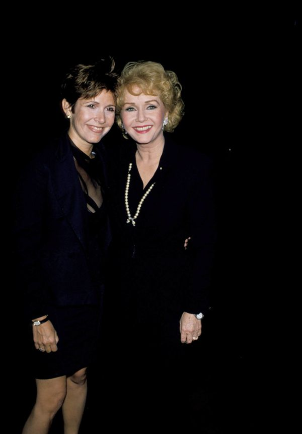 Carrie Fisher and Debbie Reynolds at 'The Unsinkable Molly Brown' at the Pantages Theater in Hollywood in 1989.