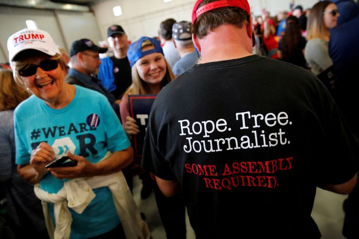 A man at a Trump rally in Minneapolis sports a shirt suggesting journalists should be hanged, Nov. 6, 2016.