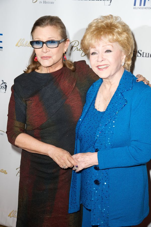 "Carrie Fisher and Debbie Reynolds attend the all-star gala and press preview of ""Profiles in History's Debbie Reynolds"" on Ma"