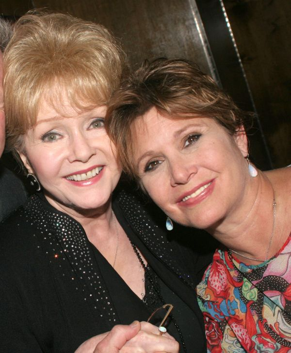"Debbie Reynolds and Carrie Fisher at the ""Irene"" original Broadway cast reunion in 2005."