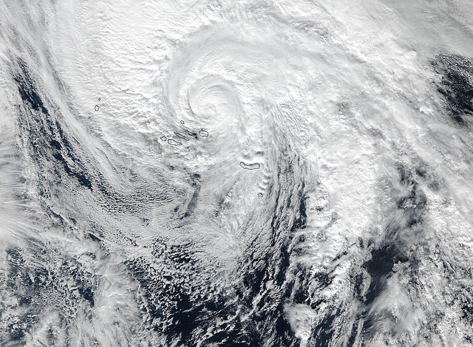 Hurricane Alex passes over the Azores on Jan. 15.