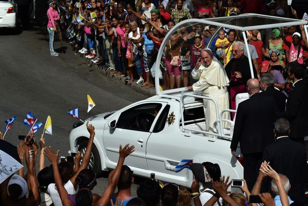 Pope Francis heads to the Cathedral of Our Lady of the Assumption in Santiago de Cuba, in eastern Cuba, to hold an encounter