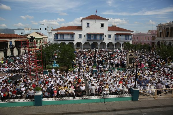 SANTIAGO DE CUBA, CUBA - SEPTEMBER 22:  People fill the square as they listen to Pope Francis hold a blessing of the city at