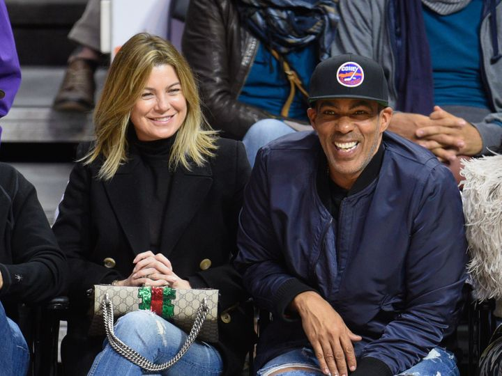 Ellen Pompeo and Chris Ivery attend a basketball game at the Staples Center on March 28 in Los Angeles, Calif.
