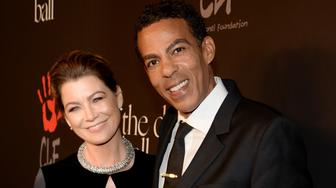 BEVERLY HILLS, CA - DECEMBER 11:  Actress Ellen Pompeo (L) and music producer Chris Ivery attends The Inaugural Diamond Ball presented by Rihanna and The Clara Lionel Foundation at The Vineyard on December 11, 2014 in Beverly Hills, California.  (Photo by Kevin Mazur/Getty Images for The Clara Lionel Foundation)