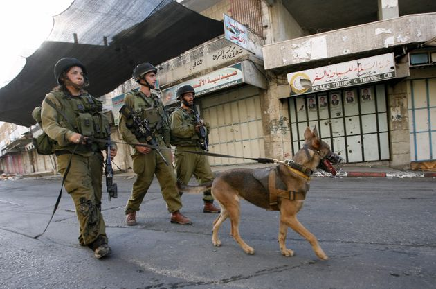 Israeli soldier patrols an empty street following the implementation of a curfew in Hebron, West Bank,...