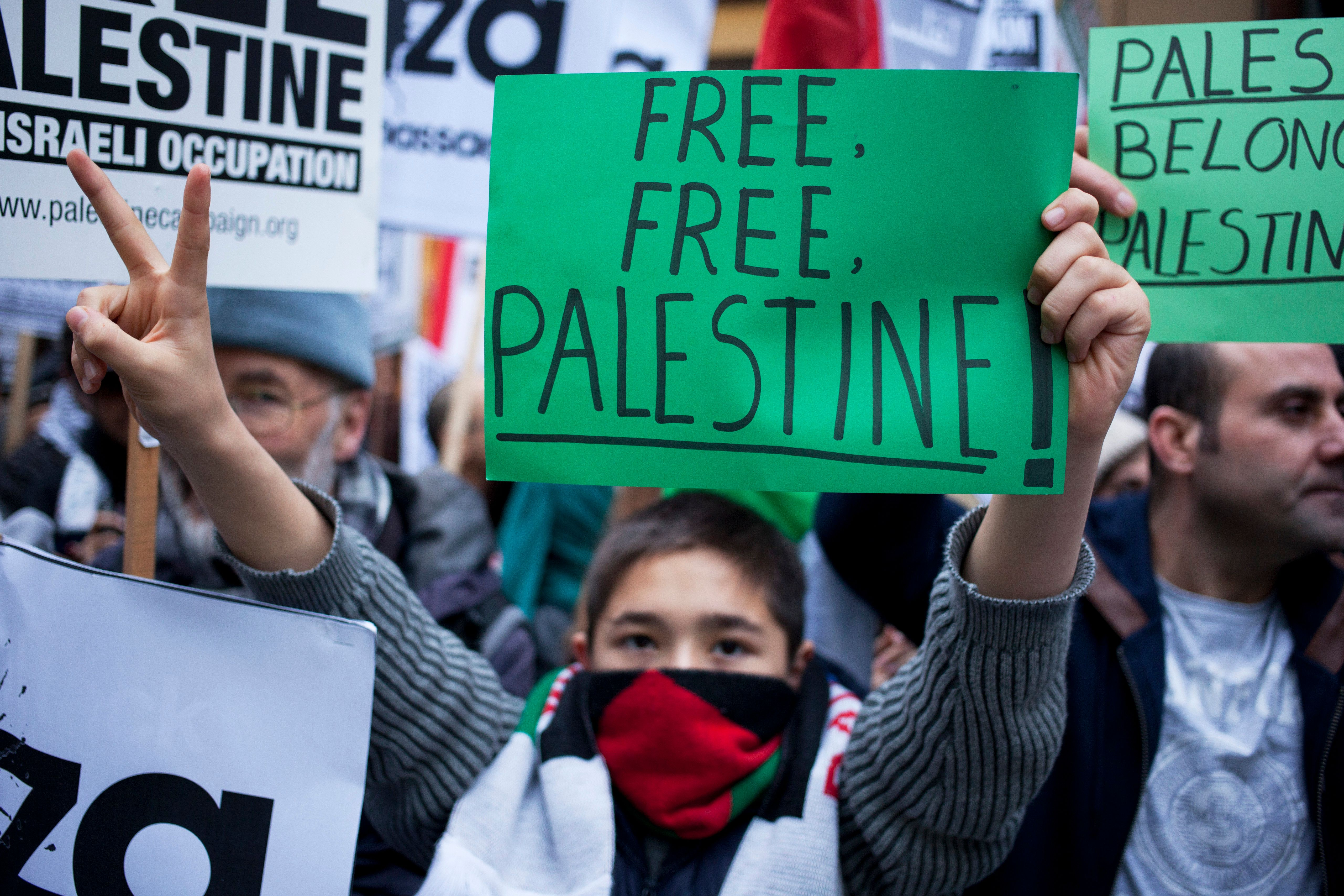 A protest in London on Nov. 17, 2012 against Israeli attacks on