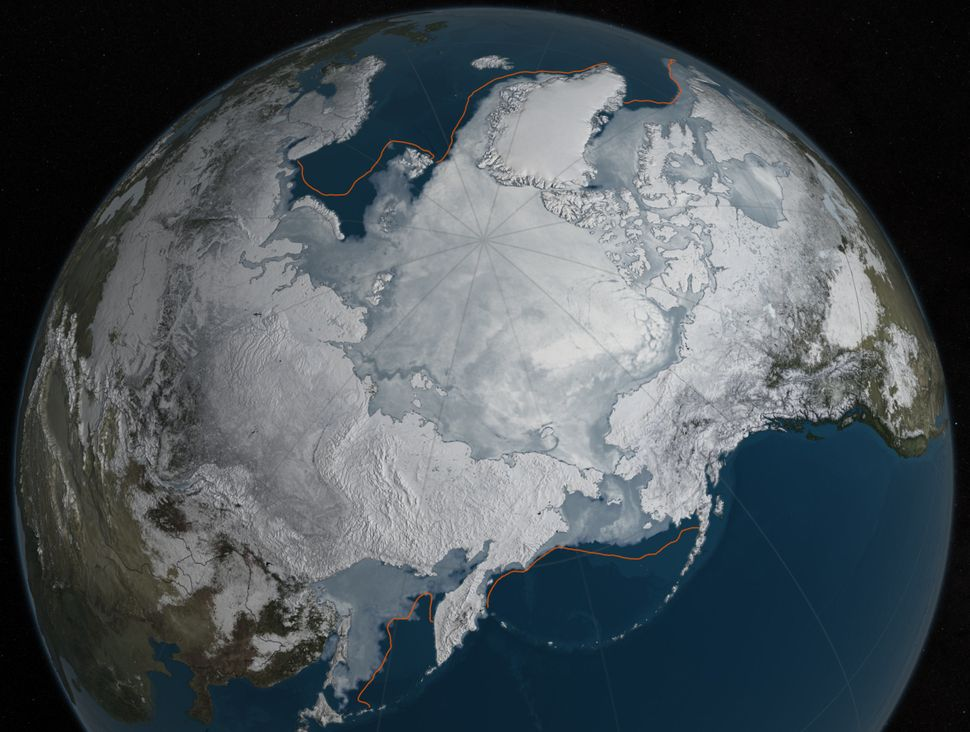 Arctic sea ice was at a record low wintertime maximum extent for the second straight year. At 5,607 million square miles, it