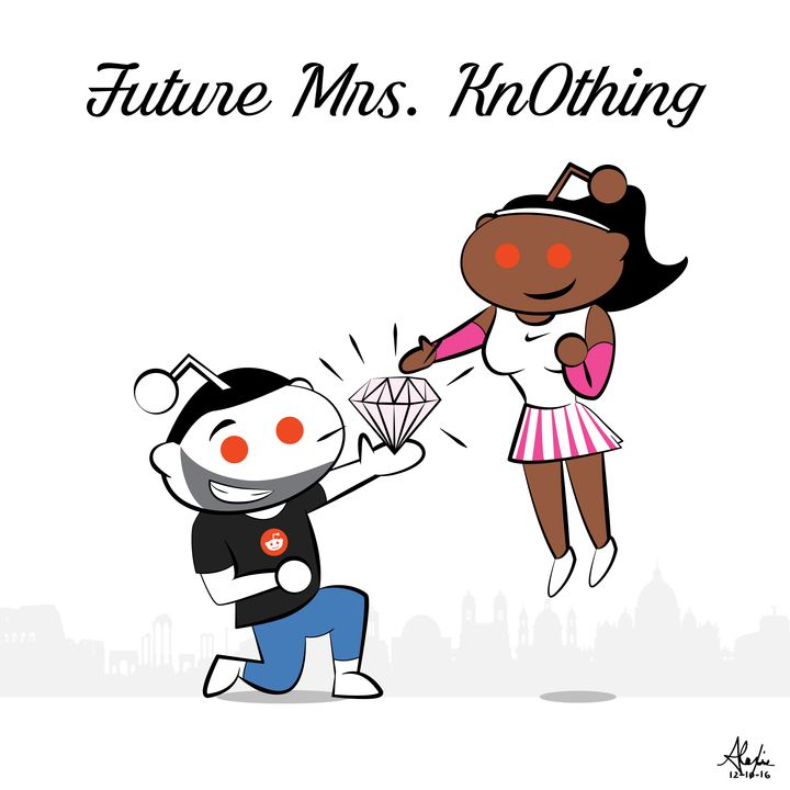 Williams shared this image on Reddit to announce her engagement to Ohanian. The two are depicted as aliens in a nod to the website's alien mascot, Snoo.