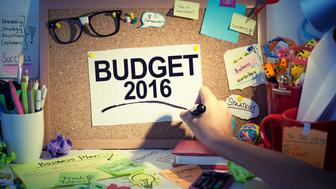 Budget 2016 concept for financial expectations, aims, goals, targets and economical plans.