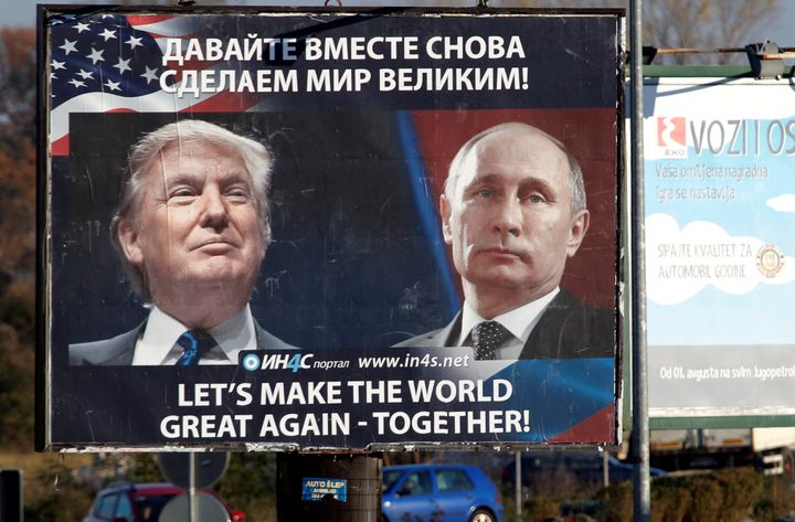 A billboard featuring pictures of U.S. President-elect Donald Trump and Russian President Vladimir Putin in Danilovgrad,