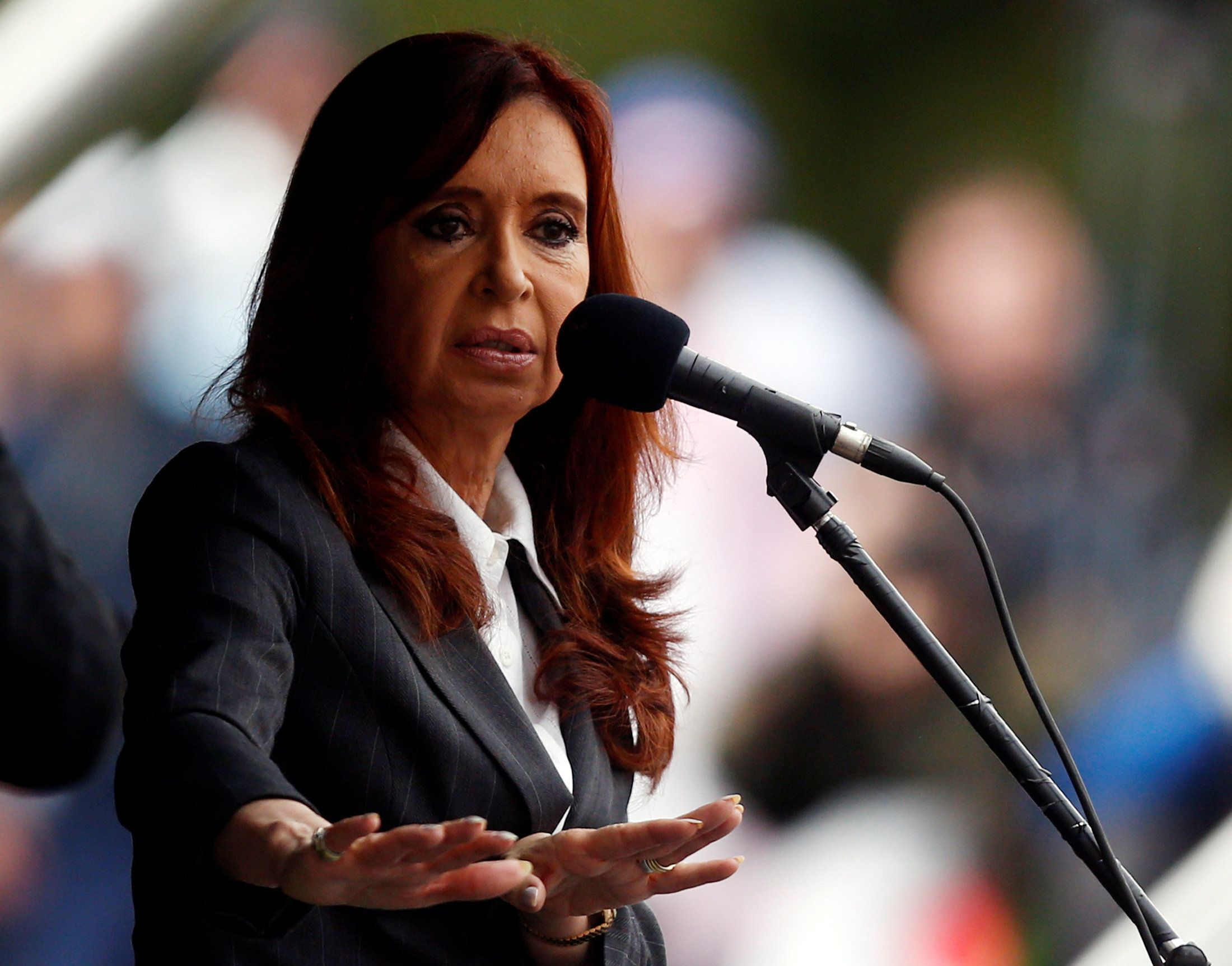 Former Argentine President Cristina Fernandez de Kirchner speaks during a rally outside a Justice building in Buenos Aires, A