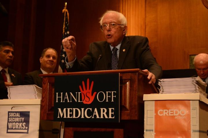 "Senator Bernie Sanders speaks at a recent ""Hands Off Medicare"" rally on Capitol Hill"