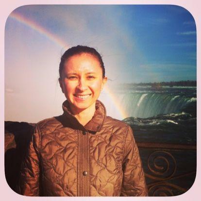 The writer at Niagara Falls enjoying the beauty and majesty of nature.