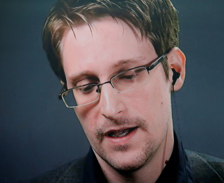 Edward Snowden speaks via a video link during a news conference in New York in September 2016.