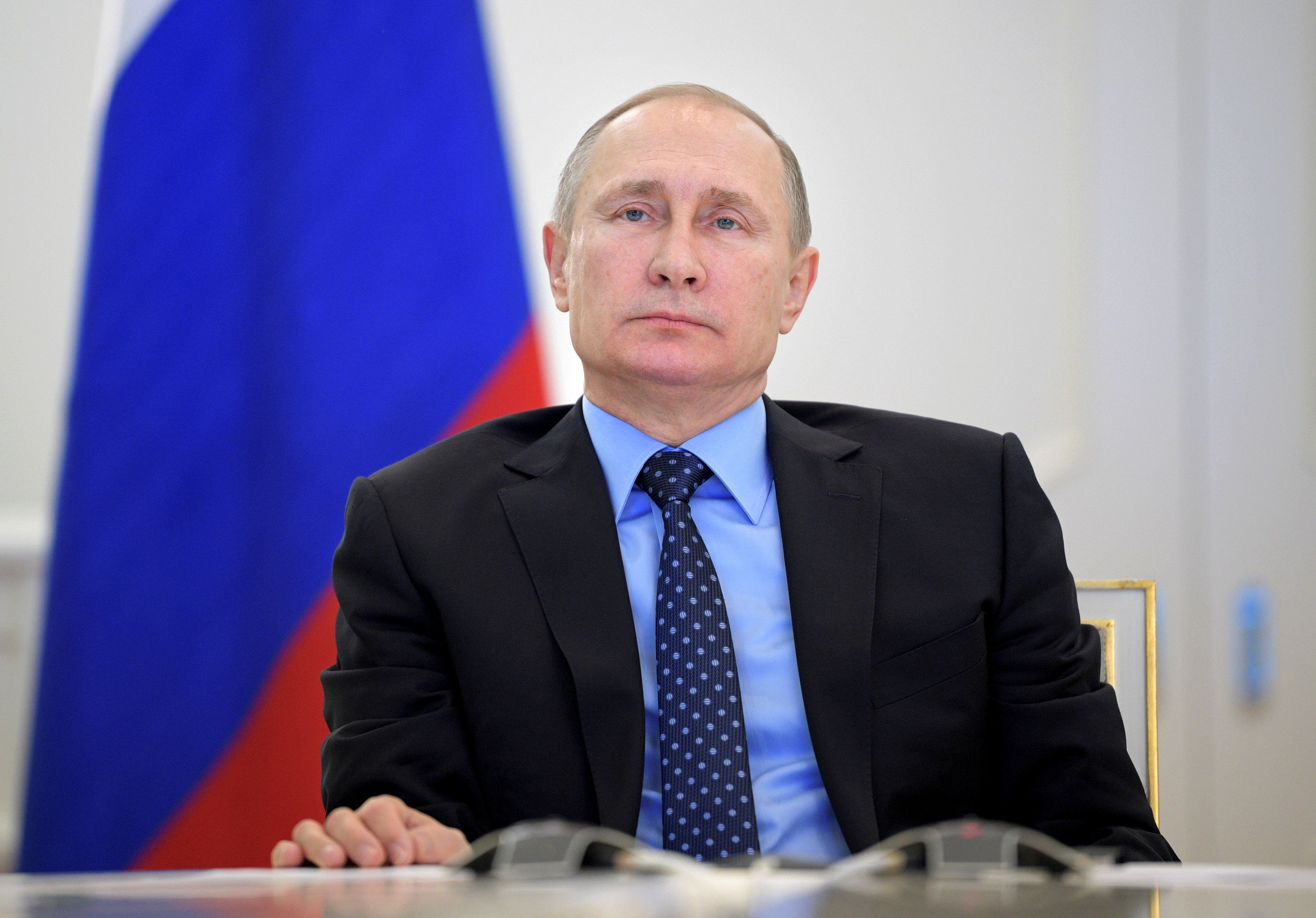 Russian President Vladimir Putin takes part in a video link, dedicated to the start of natural gas supplying from mainland Russia to Crimea, in Moscow, Russia, December 27, 2016. Sputnik/Alexei Druzhinin/Kremlin via REUTERS ATTENTION EDITORS - THIS IMAGE WAS PROVIDED BY A THIRD PARTY. EDITORIAL USE ONLY.