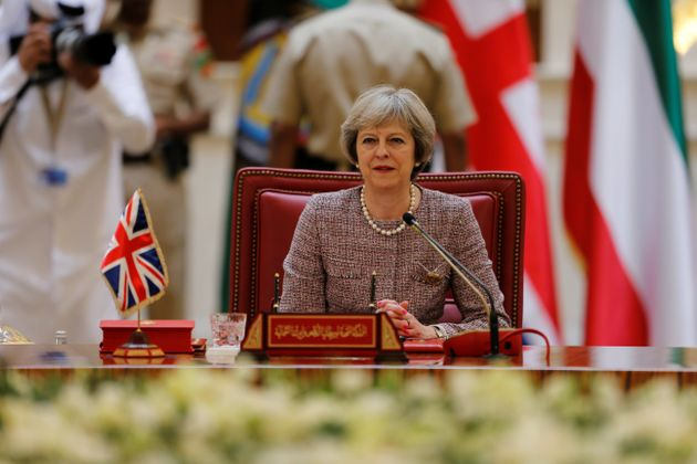 Theresa May at the first Gulf Cooporative Council's GCC British Summit earlier this