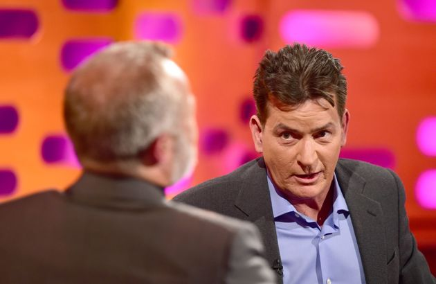Graham Norton (left) and Charlie Sheen during filming of The Graham Norton Show in
