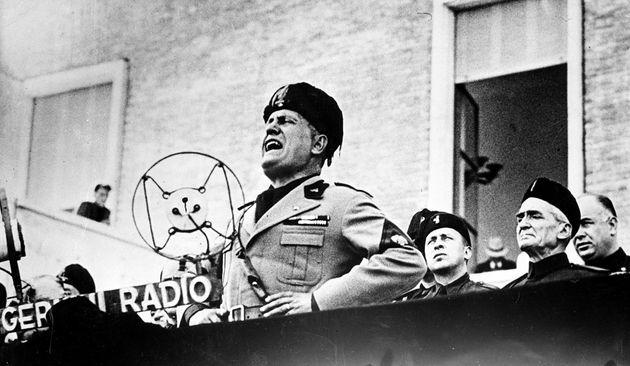 Benito Mussolini, Italian dictator, speaks at the dedication ceremonies of Sabandia, central Italy,