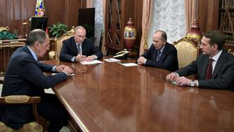 Russia's President Vladimir Putin (2nd L), Foreign Minister Sergei Lavrov (L), Director of Russian Federal Security Service (FSB) Alexander Bortnikov (2nd R), and Director of Foreign Intelligence Service (SVR) Sergei Naryshkin attend a meeting dedicated to the murder of Russian Ambassador to Turkey Andrei Karlov, at the Kremlin in Moscow, Russia December 19, 2016. Sputnik/Kremlin/Alexei Druzhinin via REUTERS ATTENTION EDITORS - THIS IMAGE WAS PROVIDED BY A THIRD PARTY. EDITORIAL USE ONLY.