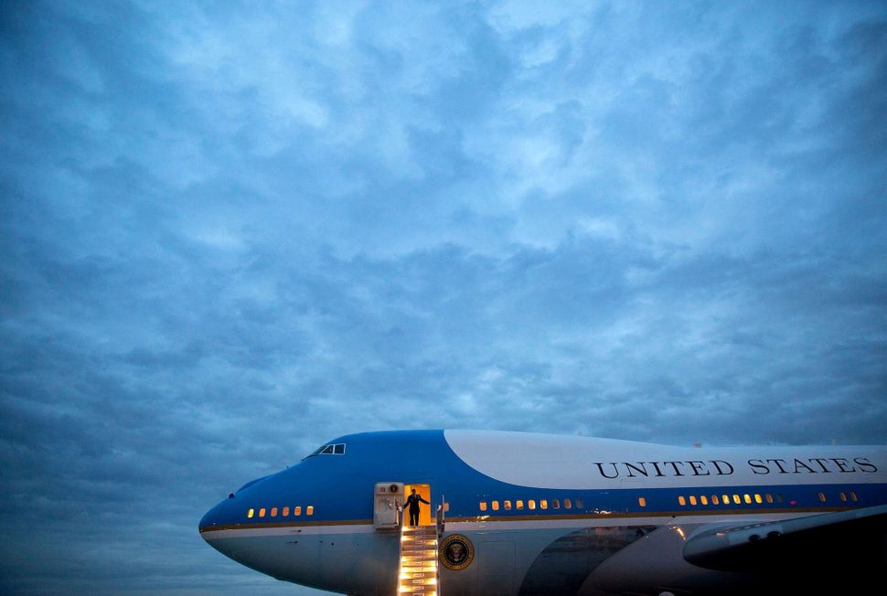 Air Force One arriving at Los Angeles International Airport on April 7.