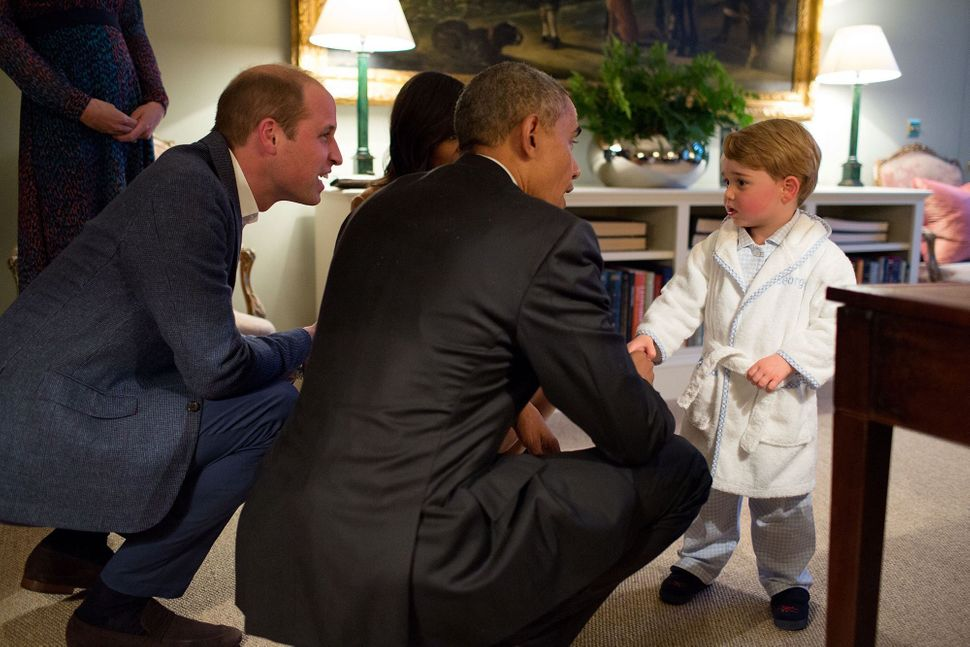 Obama meets Prince George at Kensington Palace on April 22.