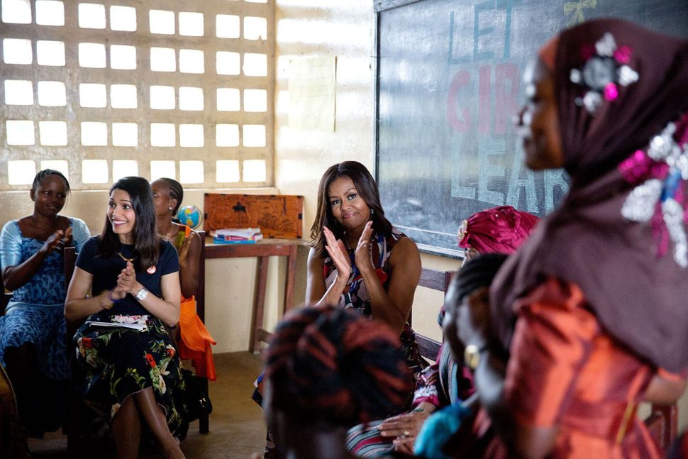 MIchelle Obama participates in a roundtable discussion with Liberian President Ellen Johnson Sirleaf, actress Freida Pinto an