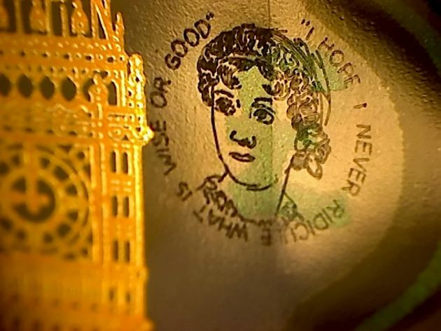 The Jane Austen portrait on one of the £5