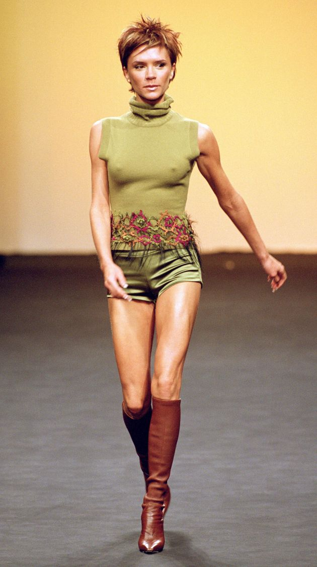 Victoria Beckham models forMaria Grachvogel during London Fashion Week in