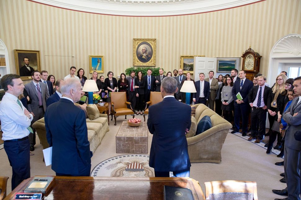 The president speaks to the White House staff in the Oval Office the morning after the 2016 Election on Nov. 9.