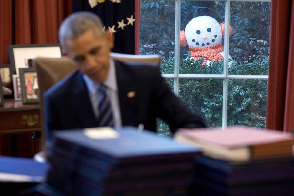 The White House staff built a snowman and placed it outside Obama's window in an end of the year prank on Dec. 16.