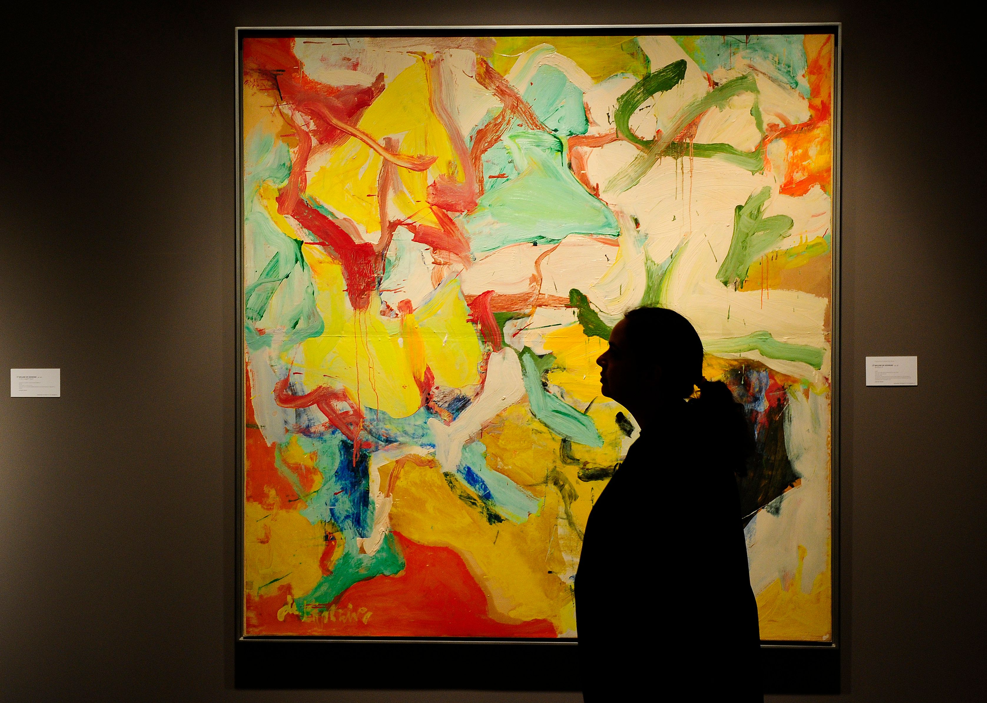 'Montauk II' by Willem de Kooning is on display during a press preview of Sotheby's Contemporary Art Autumn sale in New York, October 29, 2010. Sotheby's will hold its Contemporary Art sale on November 9, 2010. AFP PHOTO/Emmanuel Dunand (Photo credit should read EMMANUEL DUNAND/AFP/Getty Images)