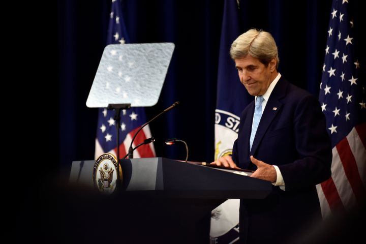 U.S. Secretary of State John Kerry concludes his remarks on Middle East peace at the Department of State in Washington Decemb