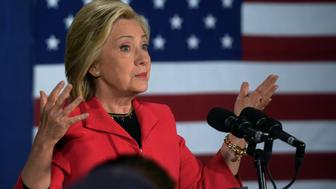 CONCORD, NH - JUNE 15: Democratic presidential candidate Hillary Clinton speaks at a launch party at Carter Hill Orchard on June 15, 2015 in Concord, New Hampshire. Clinton held a formal launch event in New York on Saturday, and is hitting the first in the nation primary state for the third time since announcing her candidacy in April. (Photo by Darren McCollester/Getty Images)