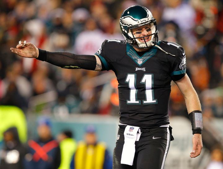 Carson Wentz is seenduring a game at Lincoln Financial Field on Dec. 22, 2016, in Philadelphia.