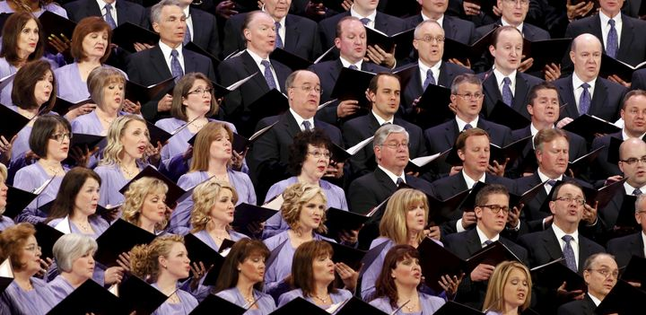 The Mormon Tabernacle Choir sings at the first session of the The Church of Jesus Christ of Latter-day Saints' 185th Annual G