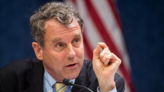 WASHINGTON, DC - MAY 12: Sen. Sherrod Brown, D-Ohio, participates in a discussion on the Trans-Pacific Partnership trade negotiations on Tuesday, May 12, 2015. (Photo By Bill Clark/CQ Roll Call)