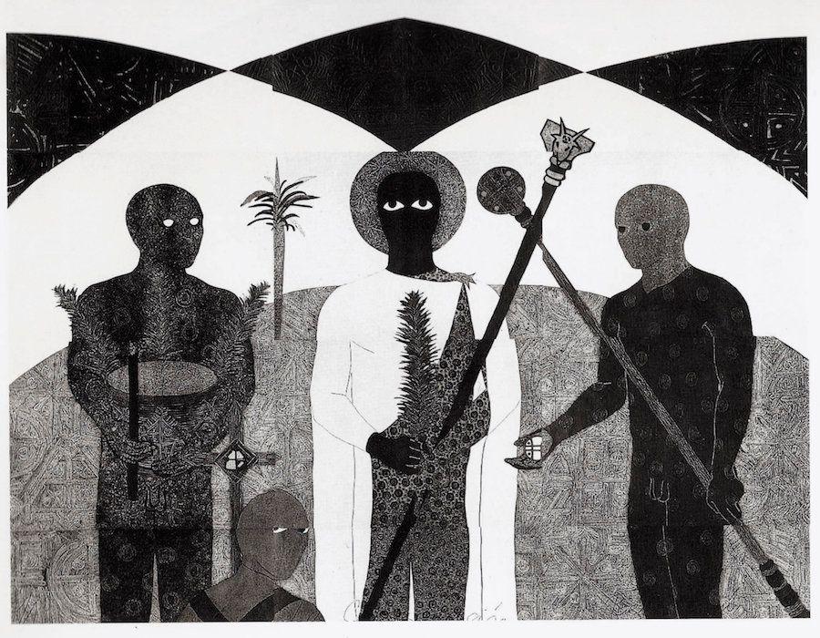 """Belkis Ayón, """"La consagración II(The Consecration II),"""" 1991, collograph."""