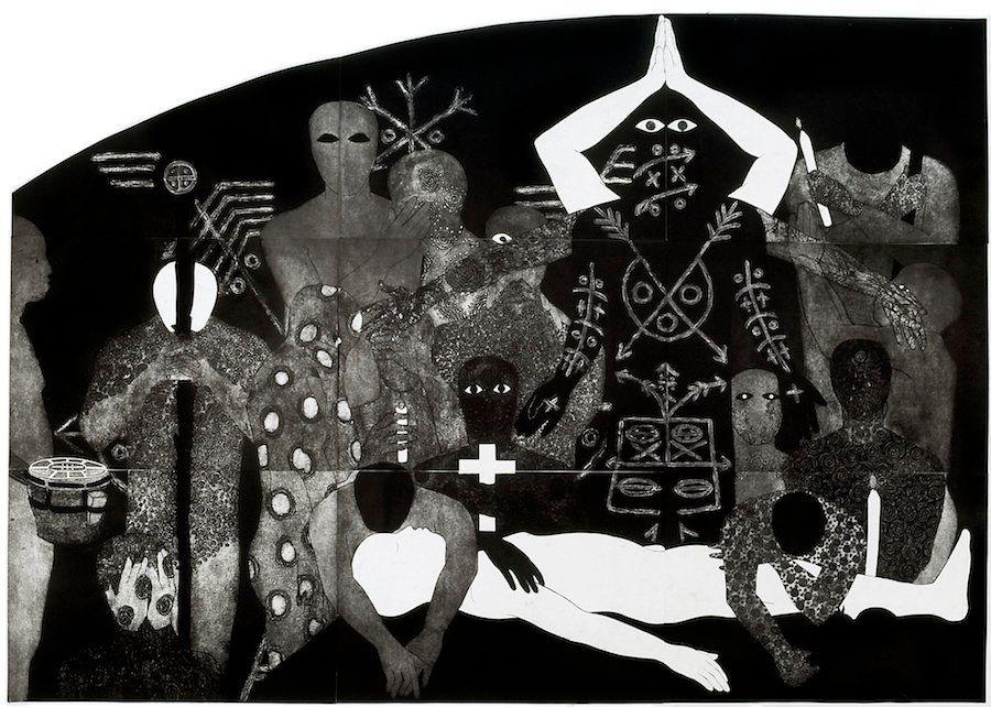 "Belkis Ayón, ""Nlloro(Weeping),"" 1991, collograph."