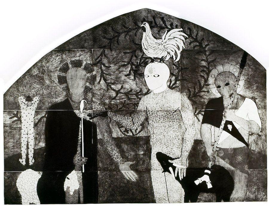 "Belkis Ayón, ""La consagración I(The Consecration I),"" 1991, collograph."