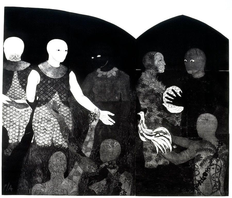 "Belkis Ayón, ""Perfidia(Perfidy),"" 1998, collograph."