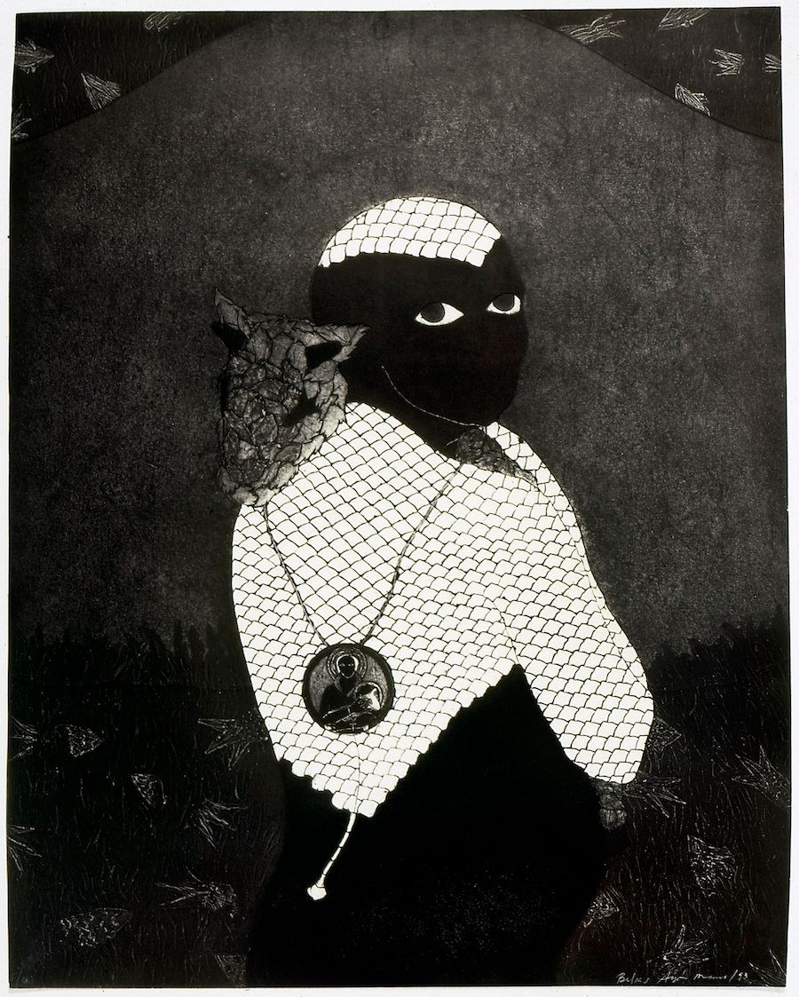 """Belkis Ayón, """"Sin título (Sikán con chivo)(Untitled (Sikán with Goat)),"""" 1993, collograph"""