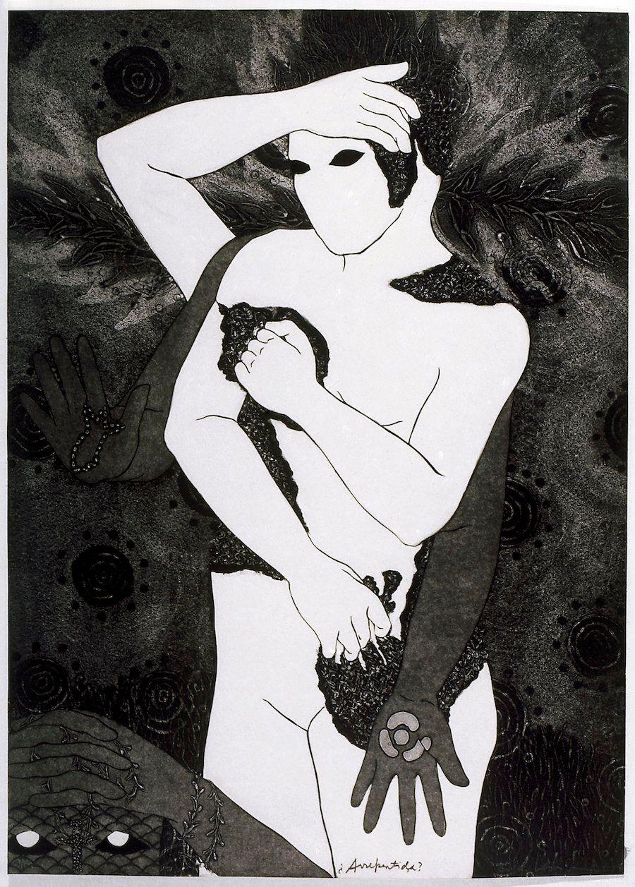 "Belkis Ayón, ""Arrepentida(Repentant),"" 1993, collograph."