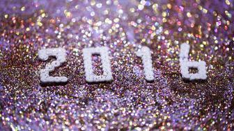 2016 in number on sparkling background
